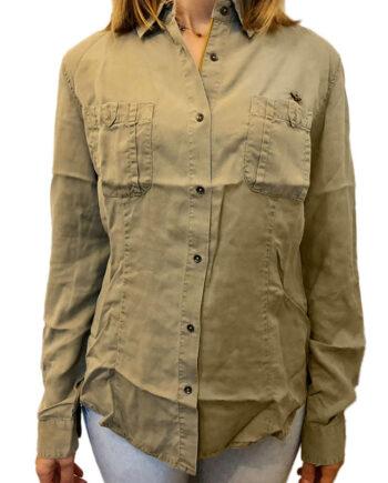 Camicia AERONAUTICA MILITARE Donna Verde Militare Tencel.Camicia con bottoni,taschini sul davanti,polsini con bottoni,ricami su spalle,logo aquila metallo