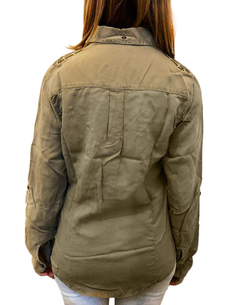 Camicia AERONAUTICA MILITARE Donna Verde Militare Tencel ...