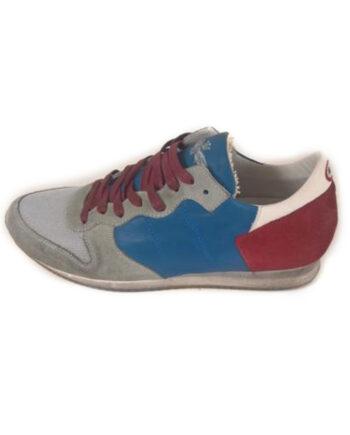 Scarpe Aeronautica Militare Sneakers Pelle Blu Rossa