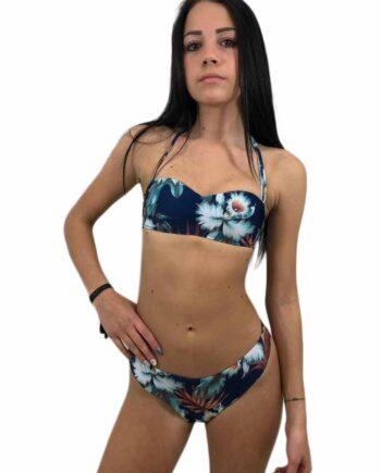Bikini Franklin Marshall Donna Blu Vintage costume due pezzi tg 40(XS),42(S),44(M),46(L), è in blu vintage con fantasia floreale,100% originali