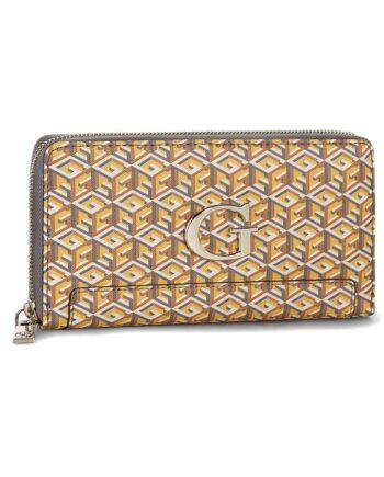 Portafoglio GUESS Donna G Cube SUN Ecopelle Giallo L,portafoglio grande guess,accessori firmati prezzo più basso,prezzi outlet guess,scomparti,zip,monete