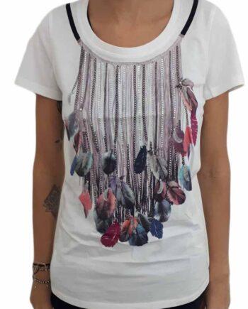 T-Shirt LIU JO JEANS Strass Stampa piume tg 46 L 3a8773a904d