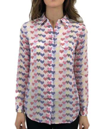 Camicia Donna EQUIPMENT SETA CUORI TG S,camicia donna equipment,abbigliamento firmato prezzo più basso,spedizione rapida,acquisti sicuri,resi facili