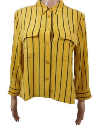 CAMICIA EQUIPMENT SETA GIALLA RIGHE TG S,camicia donna equipment,abbigliamento firmato prezzo più basso,spedizione rapida,acquisti sicuri, Dresslix.com shop online