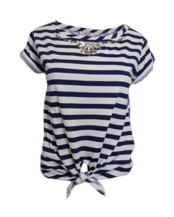T-Shirt LIU JO JEANS Strass Righe,t-shirt donna liu jo,abbigliamento firmato prezzo più basso,spedizione rapida,acquisti sicuri,shop online dresslix