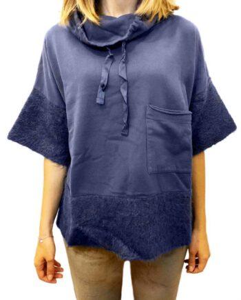 Maglia Corta Deha Collo Alto Pelo Blu Donna,Maglia Donna Deha Felpa,Abbigliamento firmato prezzo più basso,Prezzo outlet deha,maglia casual sportiva donna