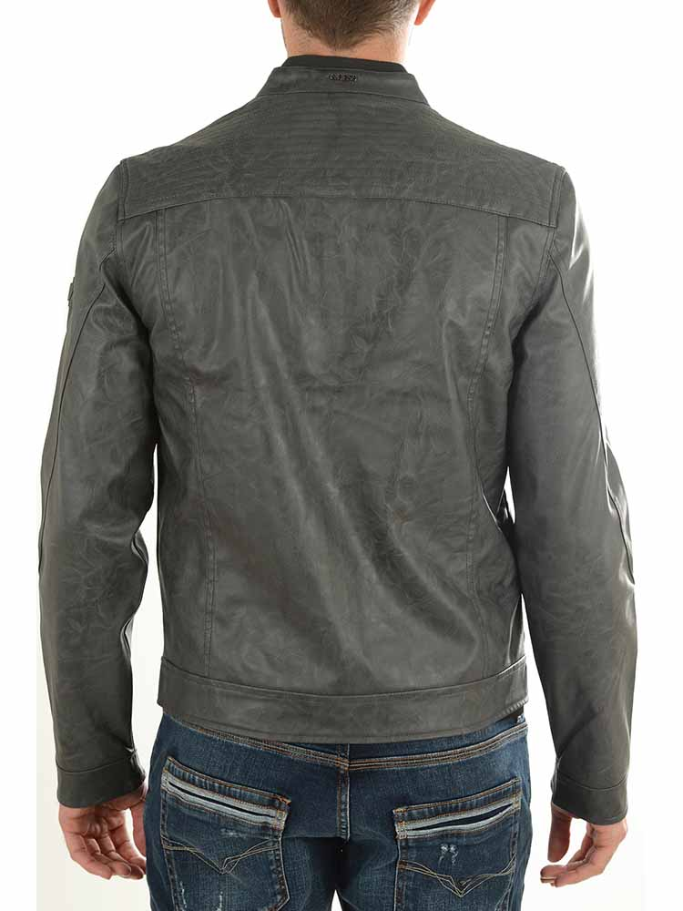 super popular b85fe 5db7d Giacca Ecopelle GUESS Los Angeles Biker Uomo Grigia tg S G1/49