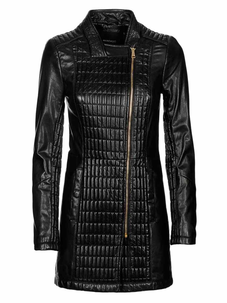 Giacca Pelle MARCIANO GUESS Lunga Donna Nera tg 42 ea85f854ece1