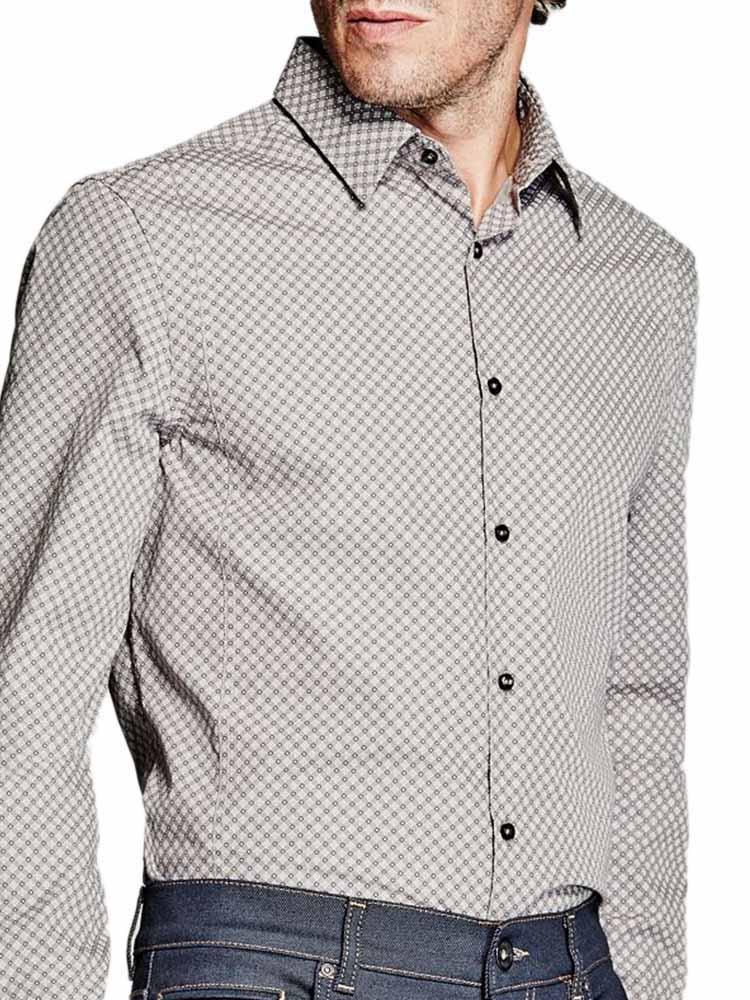 Camicia con laccio in similpelle sul colletto, jeans Guess