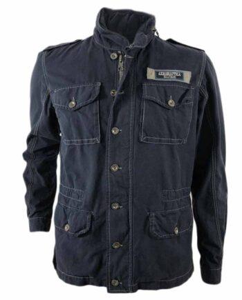 Giubbino Field Jacket AERONAUTICA MILITARE Cotone Blu tg S,M,XL,XXL,chiusura con zip e bottoni, sul davanti 2 tasche superiori e 2 tasche inferiori