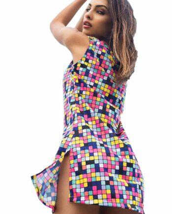Mini Abito MASQUENADA Fantasia Geometrica tg 42 S,Vestito Masquenada Donna,Abbigliamento Donna Firmato Prezzo Più Basso,Spedizione Rapida,Acquisti Sicuri
