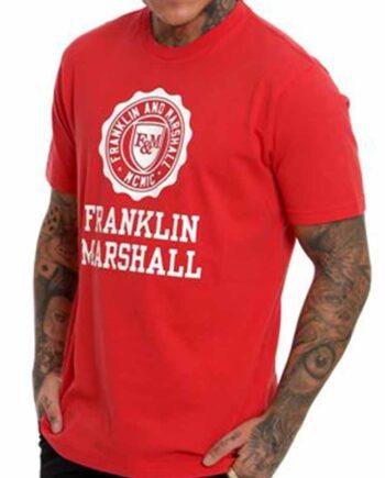 T-Shirt Franklin Marshall JERSEY ROUND Rosso Uomo Tg 3XL 56,Maglia Uomo cotone F&M,Abbigliamento Uomo Firmato,Miglior Prezzo,Spediz Rapida,Acquisti Sicuri