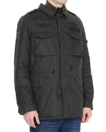 Cappotto Field Jacket AERONAUTICA MILITARE Imbottito Grigio Falcons,chiusura con zip e bottoni, sul davanti 2 tasche superiori e 2 tasche inferiori