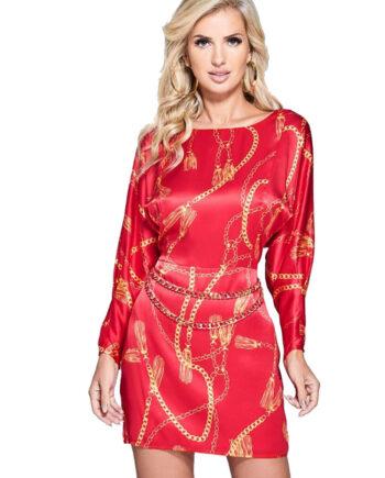 Abito Guess Marciano Seta Stampa Catene Rosso,vestito donna guess,abbigliamento firmato prezzo più basso,spedizione rapida,prezzo outlet guess