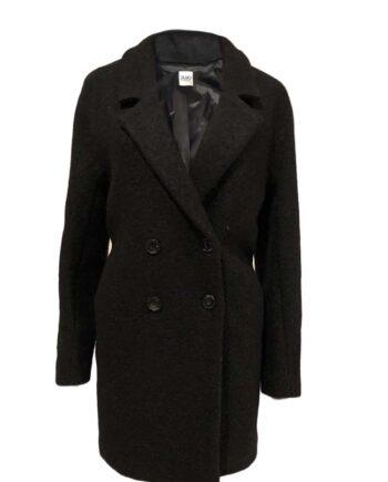 Cappotto Liu Jo Donna Boucle Lana Nero Doppiopetto,cappotto imbottito Liu Jo Donna,abbigliamento firmato prezzo più basso,spedizione rapida