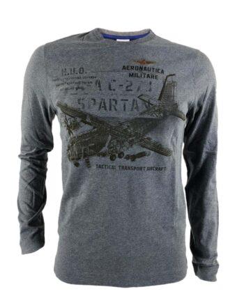 T-shirt AERONAUTICA MILITARE Uomo Grigia Tactical Transport Aircraft,Maglia Aeronautica Militare uomo,abbigliamento firmato prezzo più basso,maglia am