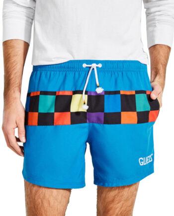 Costume Mare Pantaloncini GUESS Uomo Scacchi Colorati,tessuto tecnico, logo sulla parte laterale sinistra,costume uomo prezzo più basso,100% originale guess