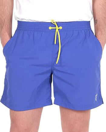 Costume Mare Pantaloncini GUESS Uomo Blu Elettrico,tessuto tecnico,logo sulla parte laterale sinistra,costume uomo prezzo più basso,100% originale guess
