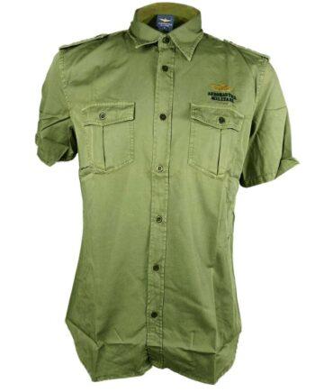 CAMICIA AERONAUTICA MILITARE Manica Corta Verde Militare Aquila,camicia aeronautica militare uomo,abbigliamento firmato prezzo più basso,spedizione rapida