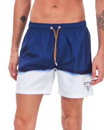 Costume Mare Pantaloncini GUESS Uomo Sfumato Blu,tessuto tecnico, logo sulla parte laterale sinistra,costume uomo prezzo più basso,100% originale guess