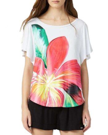 T-SHIRT LIU JO DONNA Bianca Fiore,t-shirt donna liu jo,abbigliaento firmato prezzo più basso,reso facile,acquisti sicuri,spedizione rapida,dresslix