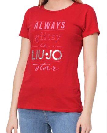 T-SHIRT LIU JO DONNA Rossa Star Cotone,t-shirt donna liu jo,abbigliaento firmato prezzo più basso,reso facile,acquisti sicuri,spedizione rapida,dresslix