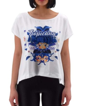 T-SHIRT LIU JO DONNA Bianco Tropicana,t-shirt donna liu jo,abbigliaento firmato prezzo più basso,reso facile,acquisti sicuri,spedizione rapida,dresslix