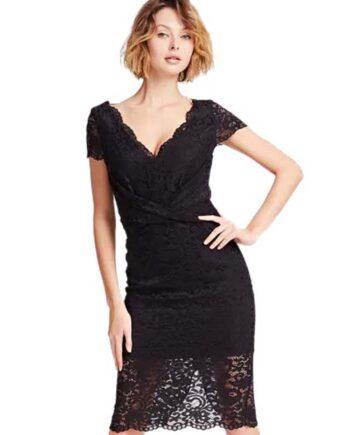 ABITO GUESS MARCIANO Nero Vestito Incrociato Pizzo,vestito donna guess,abbigliamento firmato prezzo più basso,spedizione rapida,acquisti sicuri