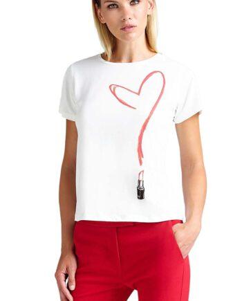 T-SHIRT GUESS DONNA Cuore Rossetto Cotone Bianca,t-shirt donna guess,abbigliaento firmato prezzo più basso,reso facile,acquisti sicuri,spedizione rapida