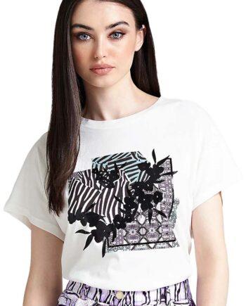 T-SHIRT GUESS DONNA Stampa Pit Flo Cotone Bianca,t-shirt donna guess,abbigliaento firmato prezzo più basso,reso facile,acquisti sicuri,spedizione rapida