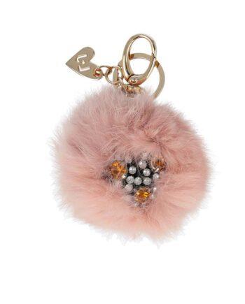Portachiavi Liu Jo Donna Pon Pon Rosa,porta chiavi liu jo donna,accessori firmati al prezzo più basso,prezzi outlet liu jo,pom pom liu jo,ciondolo cuore