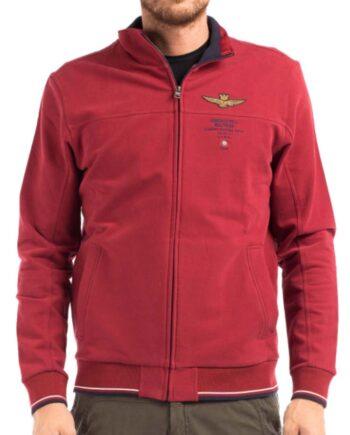 Felpa Aeronautica Militare Rossa Uomo Cotone Aquila,Felpa aeronautica militare, chiusura con zip, tasche sul davanti, logo su petto.100% originale