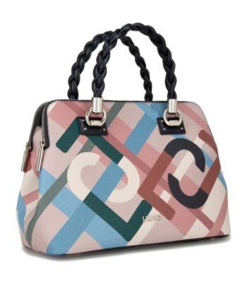 Borsa Shopping Bag LIU JO Bauletto Double Multicolor Tracolla,borsa liu jo donna,accessori firmati prezzo più basso,borsa anna liu jo,prezzi outlet liu jo