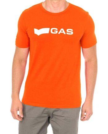 T-shirt GAS Uomo Logo Basic Monocolore Cotone Arancione.T-shirt Uomo Gas con marchio nella parte davanti e logo sulla spalla.100% cotone.t-shirt estate uomo