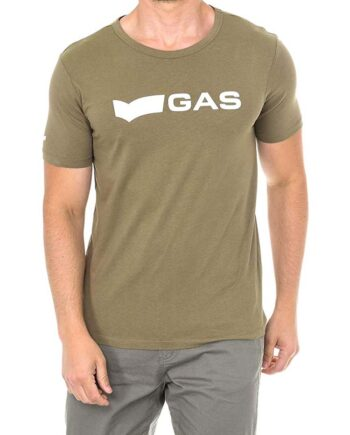 T-shirt GAS Uomo Logo Basic Monocolore Cotone Verde Militare.T-shirt Uomo Gas con marchio nella parte davanti e logo sulla spalla.100% cotone.t-shirt estate uomo