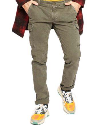 Pantalone Mason's Uomo Cargo Chile Fango.Pantalone Uomo masons cotone,modello regolare,tasche,chiusura zip e bottone