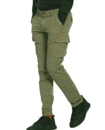 Pantalone Mason's Uomo Cargo Chile Verde Militare.Pantalone Uomo masons cotone,modello regolare,tasche,chiusura zip e bottone