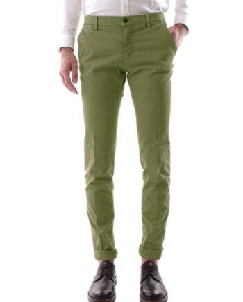 Pantalone Mason's Uomo Chino Milano Style Oliva.Pantalone Uomo masons cotone,modello regolare,tasche,chiusura zip e bottone